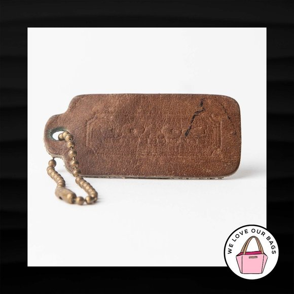 """2.25"""" COACH LEATHERWARE VINTAGE BROWN LEATHER FOB"""